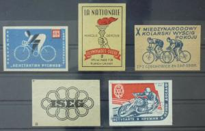 Match Box Labels ! sport olympic gamescycling bike race torch GN93