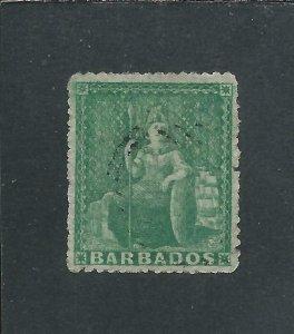 BARBADOS 1861-70 (½d) GRASS GREEN FU SG 22 CAT £50