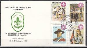 Paraguay, Scott cat. 2465-2468. Scouts, 80th Anniversary issue. First day cover.