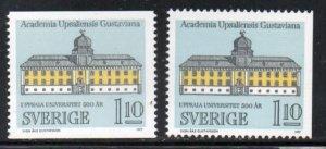 Sweden Sc 1208-09 1977 Uppsala University stamp set mint NH