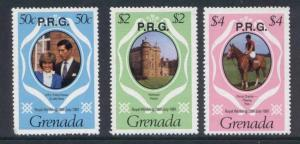 Grenada O11,4,6 MNH Prince Charles, Princess Diana, Wedding, Horse