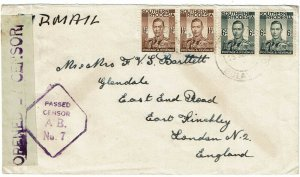 Southern Rhodesia 1944 Bulawayo cancel on airmail cover to England, censored