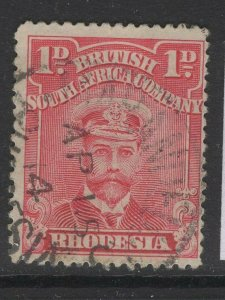 RHODESIA SG204 1913-9 1d ROSE-RED p15 USED