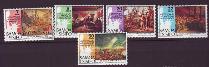 J29638 Jlstamps 1976 samoa set mnh #428-32 usa independence