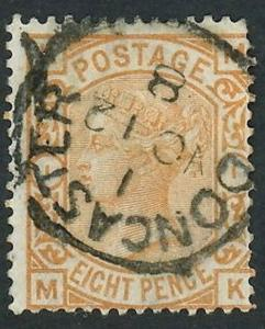 1876 Great Britain Stamp #73 8p Used Average Doncaster Full Postal Cancel