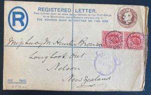 1905 Bangor England Postal Stationery Registered Cover To Nelson New Zealand