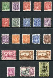 St Lucia SG128/38 1938-48 KGVI Part Set of 16 Wmk Mult Script CA M/M
