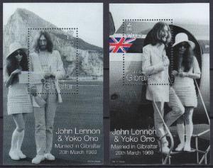 Gibraltar 1999, JOHN LENNON & YOKO ONO MNH S/S # 805-806