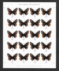 4603 MNH , Baltimore Checkerspot Butterfly, Full Sheet, scv: $34, Free Shipping
