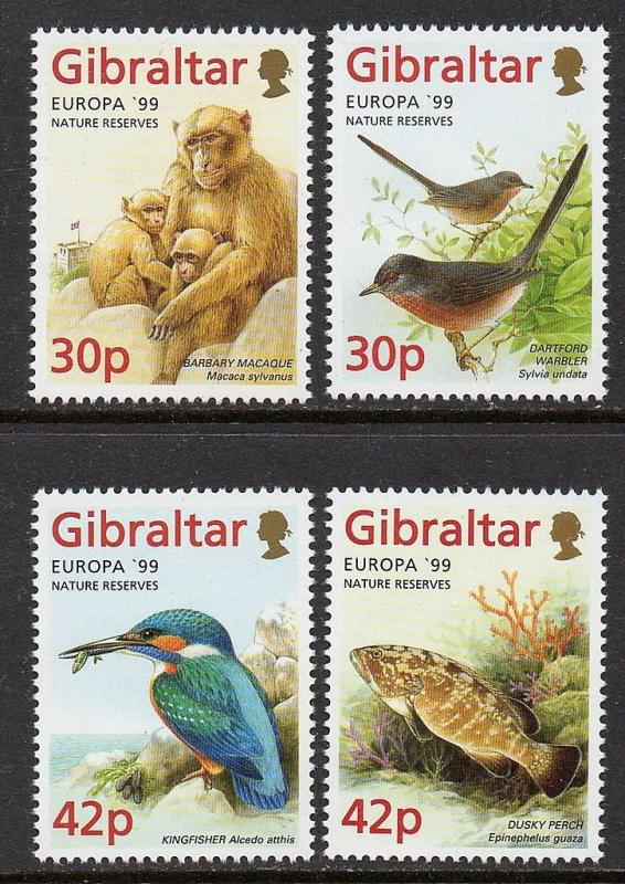 Gibraltar 1999 Birds Fish Animals Europa VF MNH (794-7)