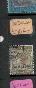 ZANZIBAR (P3006B) QV ON INDIA 2 1/2/1A 6P  SG 30 IN RED   VFU