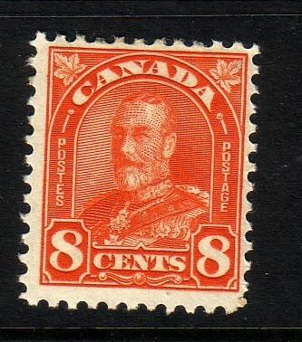 Canada Sc 172 1930 8c orange G V arch stamp mint