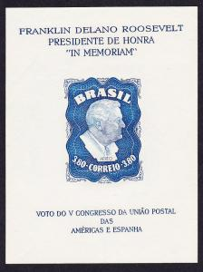 Brazil Homage to Franklin D Roosevelt MS WITH WATERMARK RAR! SG#MS788a MI#Block