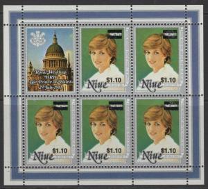 NIUE SG518 1983 $1.10 on 96c PRINCESS DIANA SHEETLET MNH