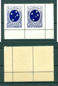 Danish West Indies.Christmas Seal 1916 Mh. Pair. With Margins. StarsSouthcross
