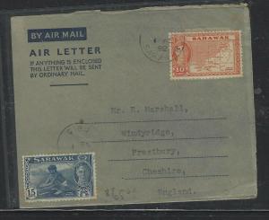 SARAWAK COVER (P0804B) 1952  KGVI 10C+15C  ON AEROGRAMME SIBU O ENGLAND NO MSG