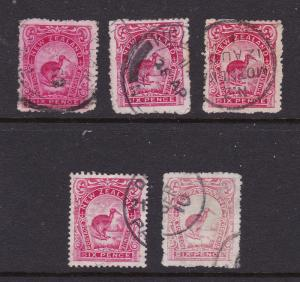 New Zealand x 5 used 6d kiwi from the 1907 set