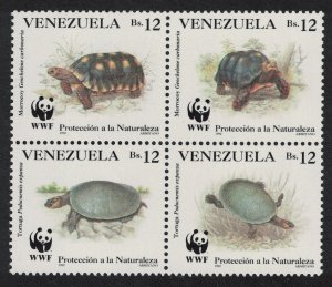 Venezuela WWF Red-footed Tortoise Turtle Block of 4 1992 MNH SC#1471 a-d