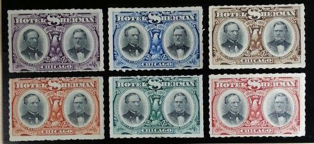 1837-1911 Historic Hotel Sherman Company Chicago, Illinois Poster Stamp Set of 6