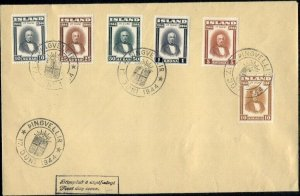 ICELAND #240-5, Complete set on FDC, VF, Scott for used stamps $116.50+