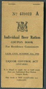 CANADA REVENUE ONTARIO BEER RATION COUPON BOOK