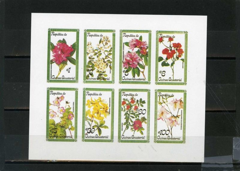 EQUATORIAL GUINEA FLORA FLOWERS SHEET OF 8 STAMPS IMPERF.MNH