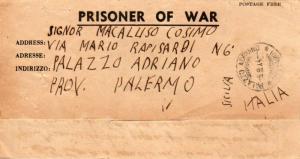 Algeria Italy P.O.W. Free Mail 1944 [Oran] Prisoner of War Lettersheet to Pal...
