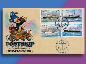 • AHOY! • Iceland Postal Ships on Handcolored 1995 FDC from Puffin Cachets!