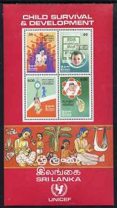 Sri Lanka 1985 UNICEF Child Survival Programme m/sheet co...