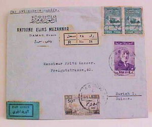 SYRIA  REVENUE USED FOR POSTAGE 1949 REGISTERED B/S ZURICH SWISS 21/2 PAIR