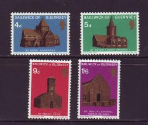 Guernsey Sc  37-0 1970 Christmas Churches stamps NH