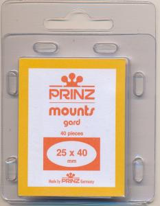 Prinz Scott Stamp Mounts Size 25/40 mm ( 25x40 ) CLEAR  PRECUT  (Pack of 40)
