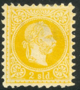 AUSTRIAN OFFICES IN TURKEY 1867 2s Yellow Coarse Whiskers w WMK Sc 1a MH