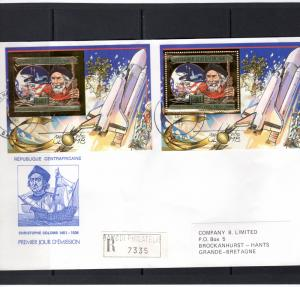 Central African 1985 Christopher Columbus-Space-Giotto Gold FDC Travel Bangui