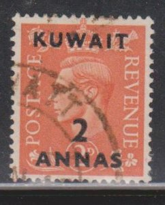 KUWAIT Scott # 75 Used - KGVI Stamp Of Great Britain With Overprint