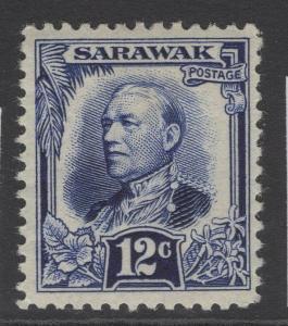 SARAWAK SG99 1932 12c DEEP ULTRAMARINE MTD MINT