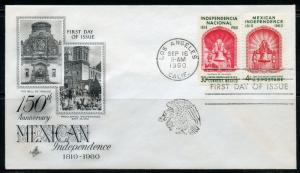 UNITED STATES  MEXICAN INDEPENDENCE 1960 ARTCRAFT UNADDRESSED  COMBO  FDC