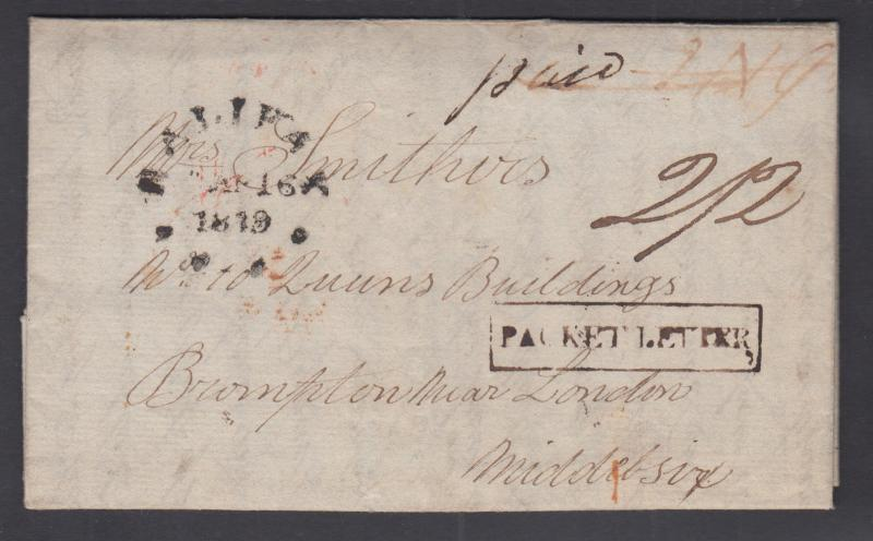 Nova Scotia, 1819 Stampless Transatlantic SFL, PACKET LETTER handstamp, VGG Cert