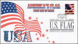 17-020, 2017, U.S. Flag, America's Flag, First Day Cover, B/W Pictorial