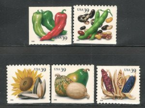 4008-12 American Crops Set Of 5 Mint/nh Free Shipping (A-392)