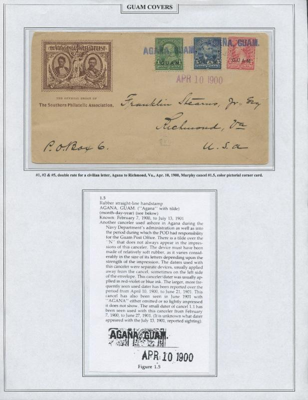 GUAM #1,2,5 ON COVER APRIL 10,1900 CV $600 BS8458 HS108G