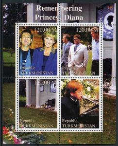 Turkmenistan Royalty Stamps 2000 MNH Princess Diana Elton John Music 4v M/S
