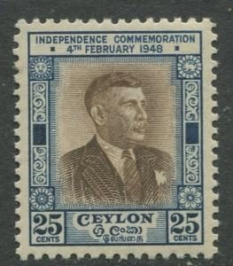 Ceylon -Scott 303- General Issue - 1949- MLH - Single 25c Stamp