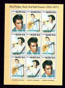Maldives 1836 NH 1993 Elvis Presley Sheet of 9