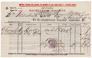 (I.B) Caledonian Railway : Despatched Goods Invoice (1870)