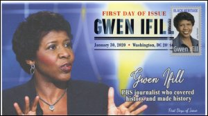 20-017, 2020, Gwen Ifill, Digital Color Postmark, FDC, Black Heritage, Journalis