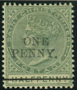 ST CHRISTOPHER-1887 1d on ½d Dull Green.  A lightly mounted mint example Sg 26