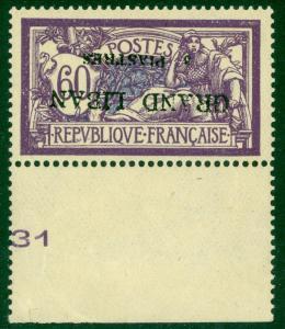 LEBANON 1924 3pi on 60c MICRO SURCHARGE PROOF Sc 11 ERROR OVERPRINT INVERTED MNH