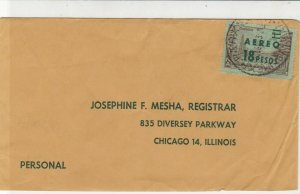 Argentina 1963 Aero 18 Peso Overprint Airmail Stamps Cover to USA Ref 25534