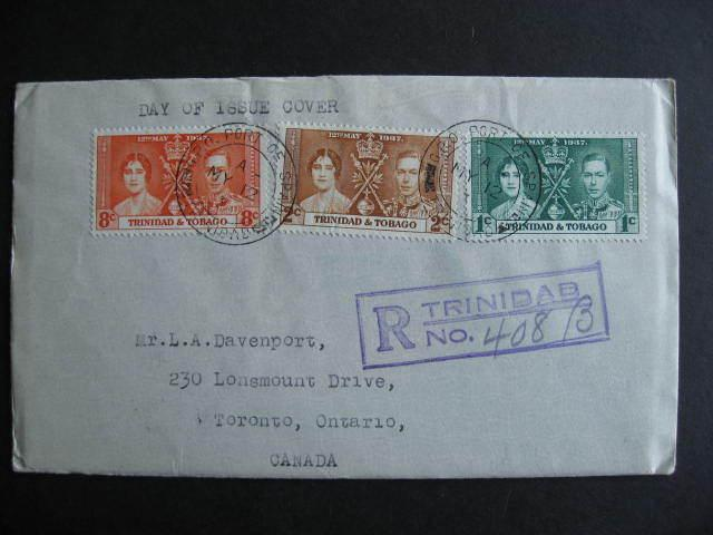 TRINIDAD & TOBAGO 1937 coronation Sc 47-9 FDC First Day Cover, check it out!